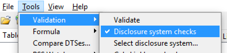 check menu selection for disclosure system validation